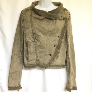 Free People Collapsing Twill Military Moto Jacket